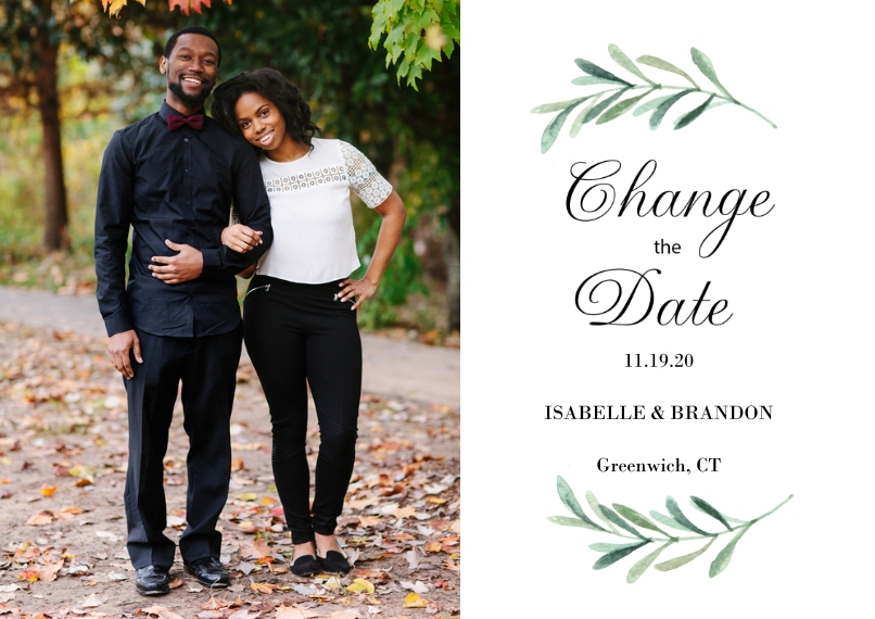 Change the Date 5x7 Cards, Premium Cardstock 120lb with Scalloped Corners, Card & Stationery -Change the Date Greenery by Tumbalina