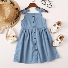 Toddler Girls Bow Side Button Through Denim Dress