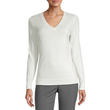 Worthington Womens V Neck Long Sleeve Pullover Sweater, Large , White