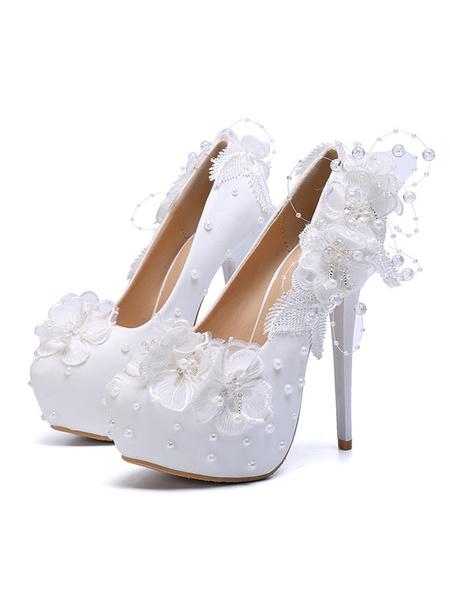 Milanoo Wedding Shoes PU Leather White Round Toe Flowers Stiletto Heel 5.7 Bridal Shoes