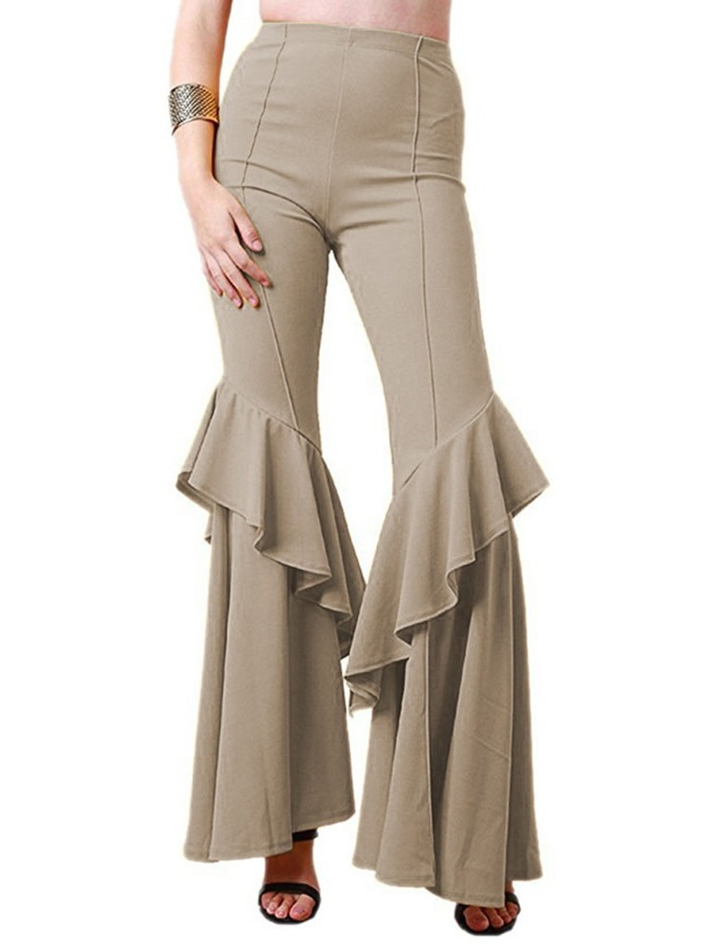 Ericdress Plain Slim Falbala Full Length Bellbottoms Casual Pants