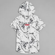 T-Shirt mit Spritzen Muster, Buchstaben Stickereien, Kordelzug und Kapuze