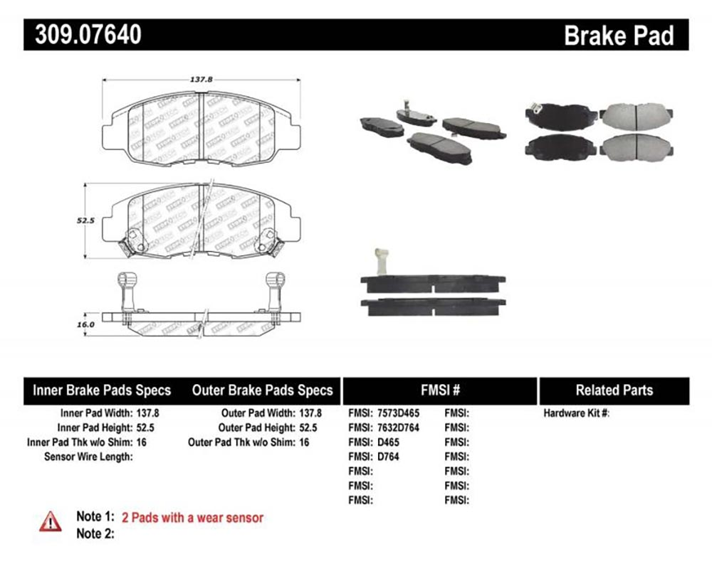 StopTech 309.0764 Sport Brake Pads with Shims/Hardware Front