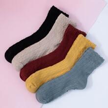 5pairs Plain Socks