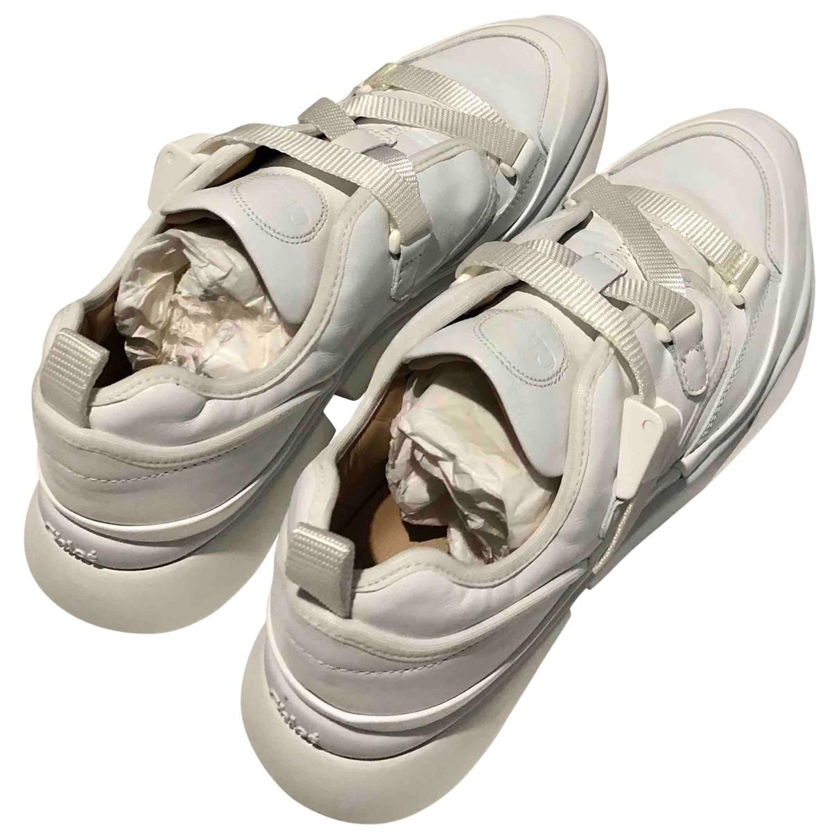 Chloe Sonnie Sneakers in  Weiss Leder