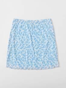 Lettuce Hem Butterfly Mesh Skirt