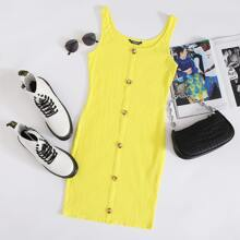 Button Front Rib-knit Bodycon Dress