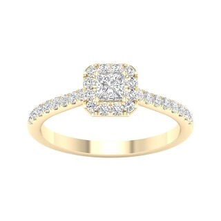 1/2ct TDW Princess Cut Diamond Halo Ring in 10k Gold by De Couer (6 - Yellow)