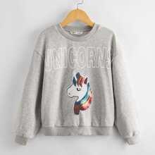 Sweatshirt mit Pailletten und Einhorn Flicken
