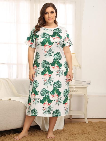 Yoins Plus Size White Tropical Round Neck Short Sleeves Dress
