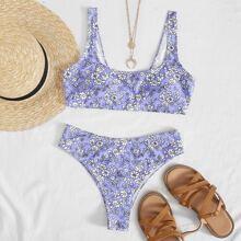 Bikini Badeanzug mit Blumen Muster und hoher Taille