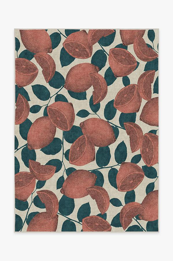 Washable Rug Cover & Pad   Lemonade Rose Rug   Stain-Resistant   Ruggable   5x7