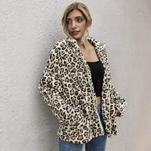 Zip Up Drop Shoulder Faux Fur Leopard Coat