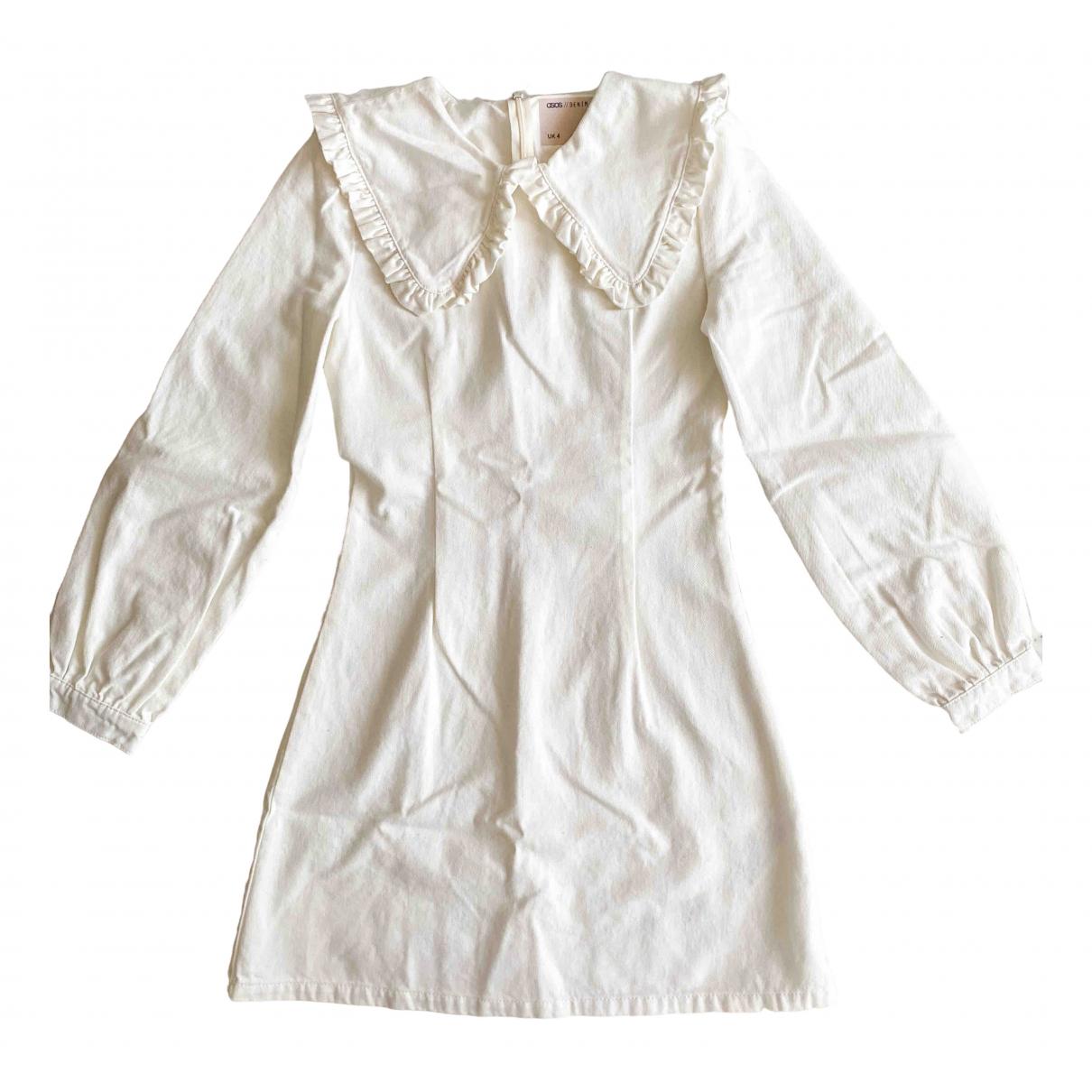 Asos - Robe   pour femme en denim - blanc