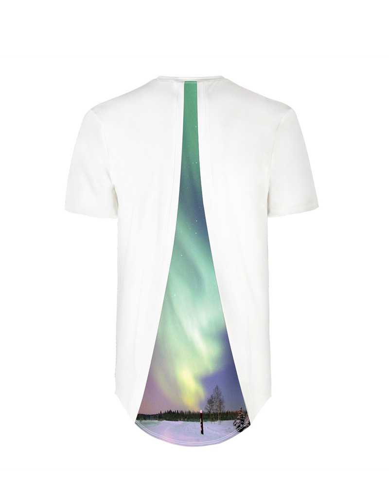 Green Polar Lights Back Of Clothe 3D Painted T-Shirt