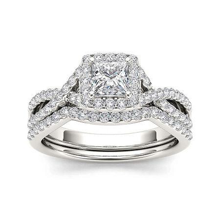 1 1/4 CT. T.W. Diamond 14K White Gold Bridal Set, 9 , No Color Family