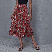 Split Thigh Allover Floral Print Skirt
