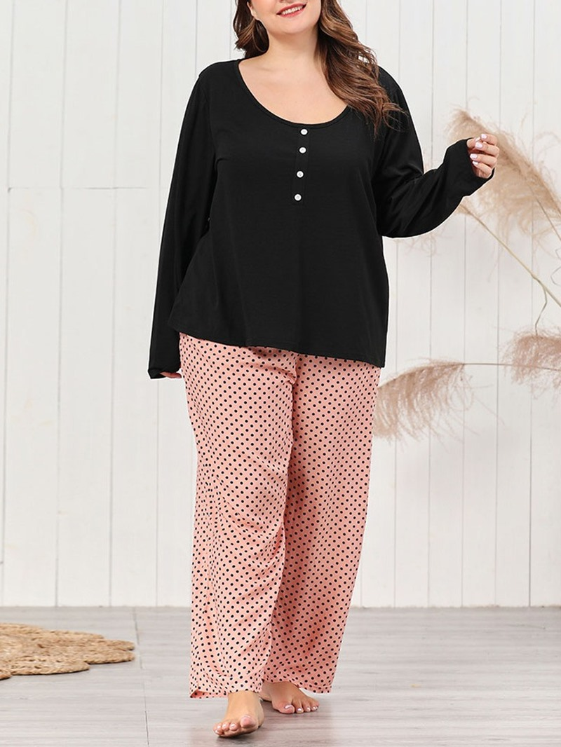 Ericdress Print Polyester Polka Dots Pullover Round Neck Pajama Suit