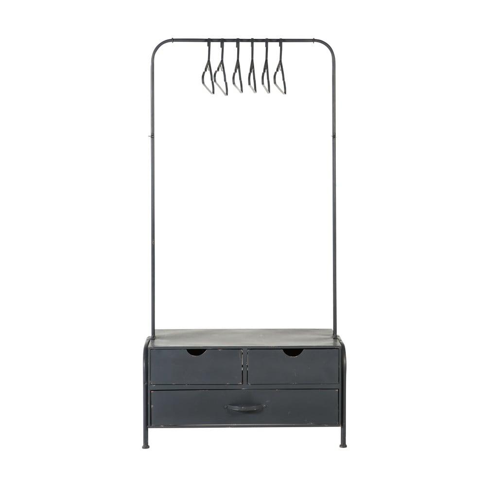 Metallgarderobe mit 3 Schubladen und 6 Kleiderbuegeln, schwarz