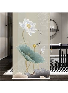 Pure Lotus and Free fish Pastoral Style Printing Roller Shades