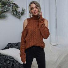 Cable Knit Cold Shoulder Turtleneck Sweater