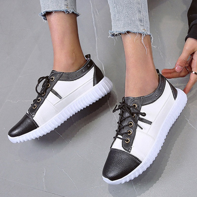 Ericdress Round Toe Lace-Up Mid-Cut Upper PU Sneakers