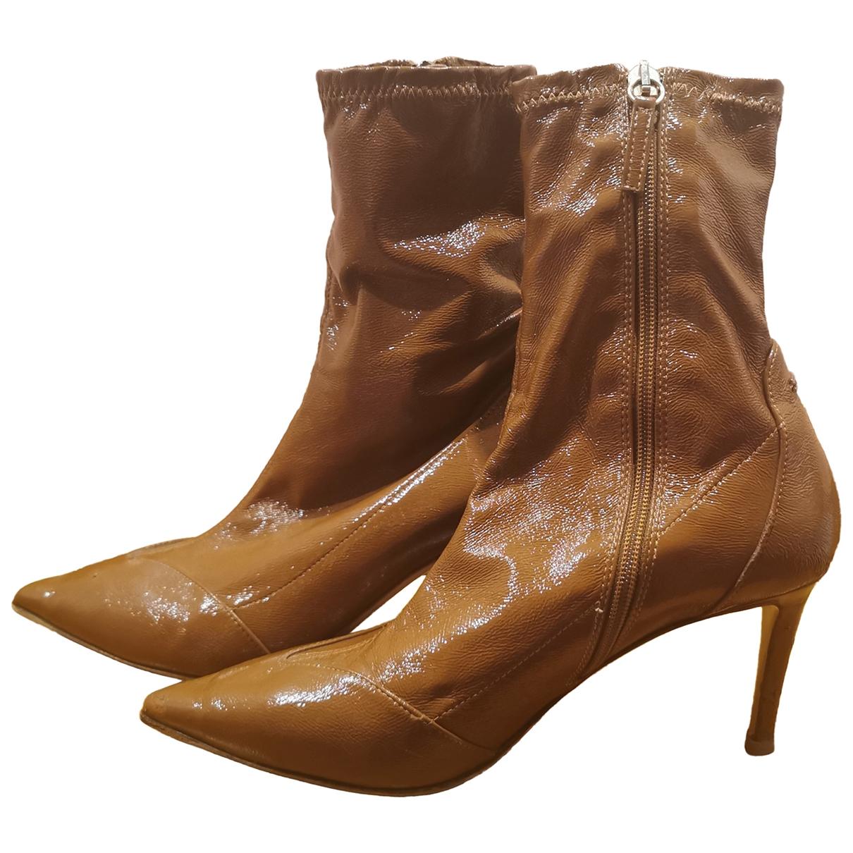 Elisabetta Franchi - Boots   pour femme en cuir verni - marron