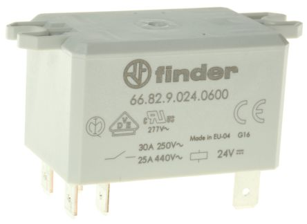 Finder , 24V dc Coil Non-Latching Relay DPST, 30A Switching Current Flange Mount, 2 Pole