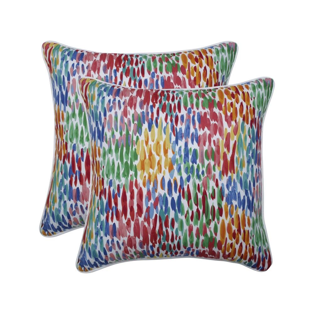 Pillow Perfect Outdoor / Indoor Make It Rain Zinnia Blue 18.5-inch Throw Pillow (Set of 2) (18.5-inch Throw Pillow (Set of 2))
