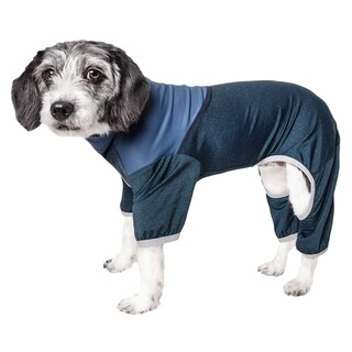 Pet Life ® Active 'Embarker' Heathered Performance 4-Way Stretch Two-Toned Full Body Warm Up (Teal - X-SMALL)
