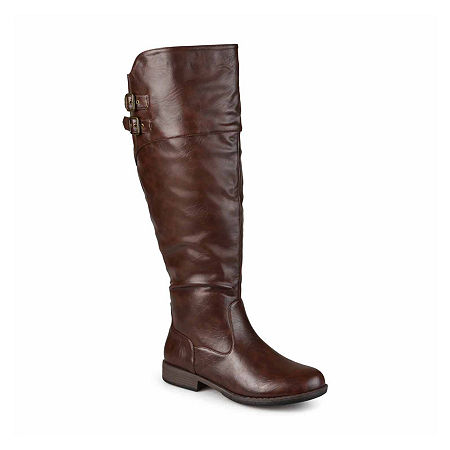 Journee Collection Womens Tori Extra Wide Calf Riding Boots, 9 Medium, Brown