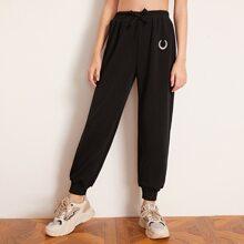 Pantalones joggers de niñas con diseño bordado