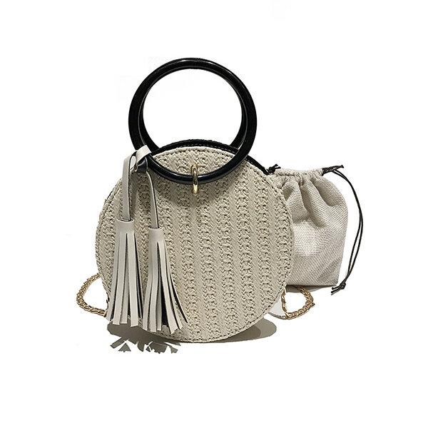 Women Travel Small Round Straw Bag Shoulder Bag Simple Chain Messenger Bag