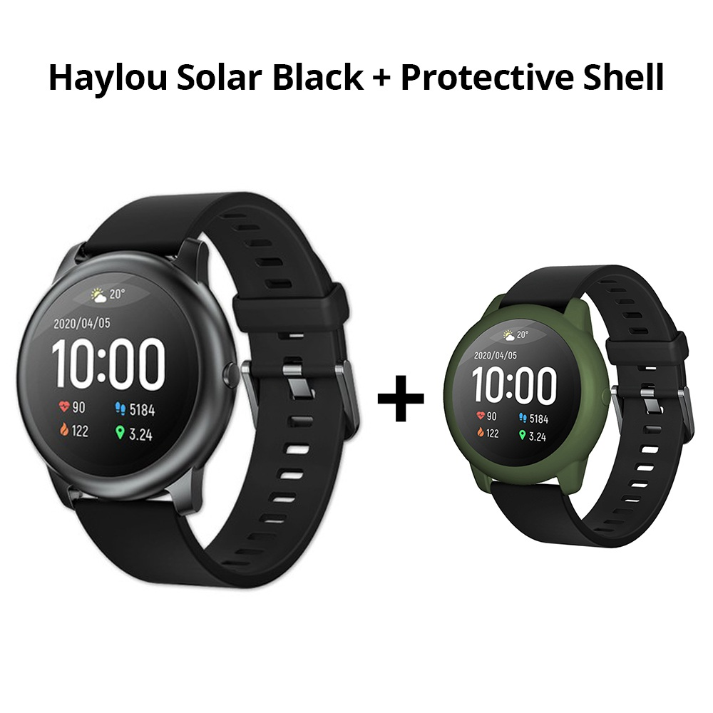 Haylou Solar Smart Watch Black + ArmyGreen Silicone Protective Shell
