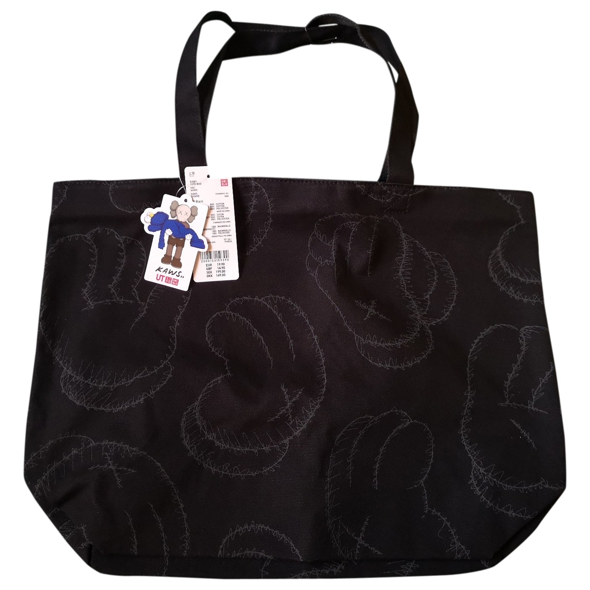 Kaws X Uniqlo \N Black Cotton handbag for Women \N