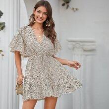 Flutter Sleeve Ruffle Hem Leopard Print Dress