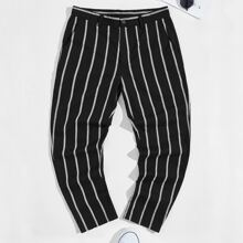 Men Button Front Striped Pants