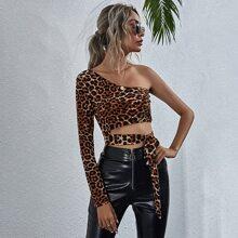 Crop Top mit Leopard Muster, Band vorn und einem Ärmel