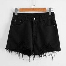 Schwarz Knopfe  Einfarbig Laessig Jeansshorts