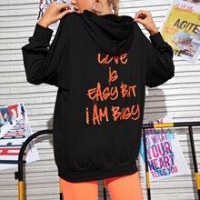 Slogan Graphic Stitch Trim Drawstring Hoodie