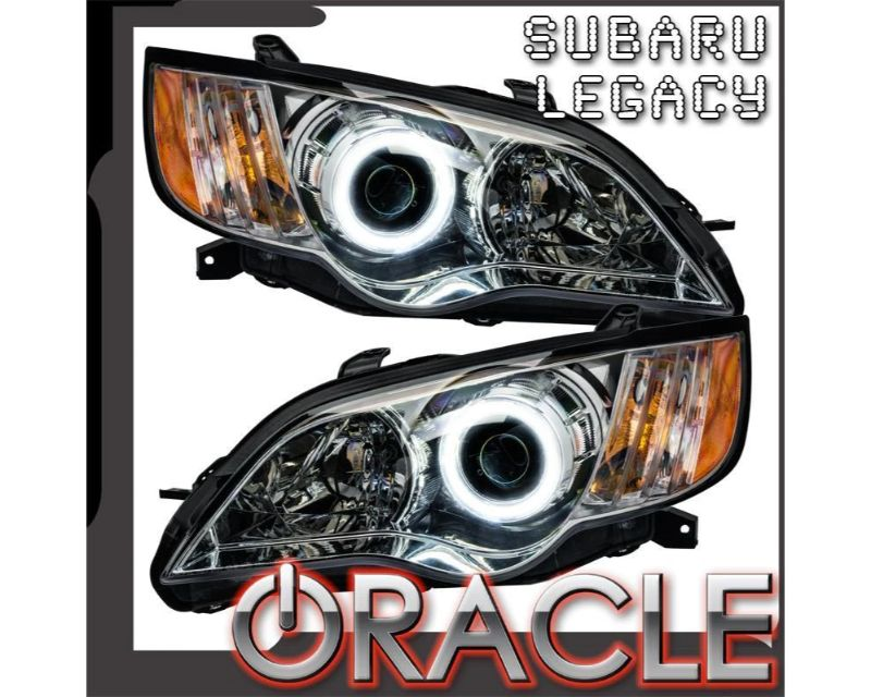 Oracle Lighting 7206-004 Pre-Assembled Headlights - Chrome LED Halo Kit Green Subaru Legacy 2008-2009