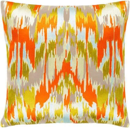 AR146-2222 22 x 22 Pillow Cover  in Bright Orange and Taupe and Butter and Lime and Pale