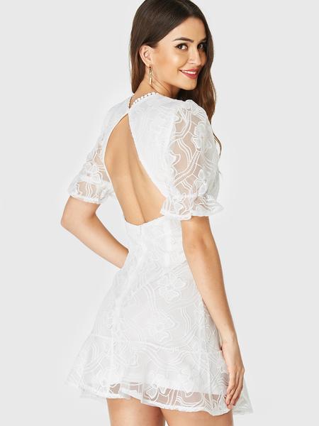 YOINS White Lace V-neck Puff Sleeves Ruffle Hem Dress