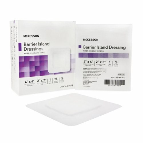 Composite Barrier Island Dressing Water Resistant McKesson 4 X 4 Inch Polypropylene / Rayon 2 X 2 In - 25 Count by McKesson