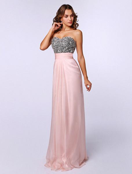 Milanoo Pink Sweetheart Neck Sleeveless Pearls Elastic Silk Sheath Prom Dress