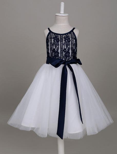 Milanoo Vestido de florista barato con escote redondo sin mangas estilo princesa hasta la rodilla con faja Cremallera de color azul marino oscuro