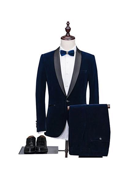 Alberto Nardoni Velvet  Tuxdo Suit Velvet Pants Blue Color Tuxedo Looking Perf