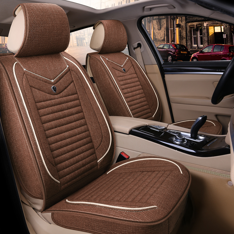 Pink丨Black丨Blue丨Beige丨Coffee Streamlined Design Pure Colour Flax Material Universal Fit Car Seat Covers