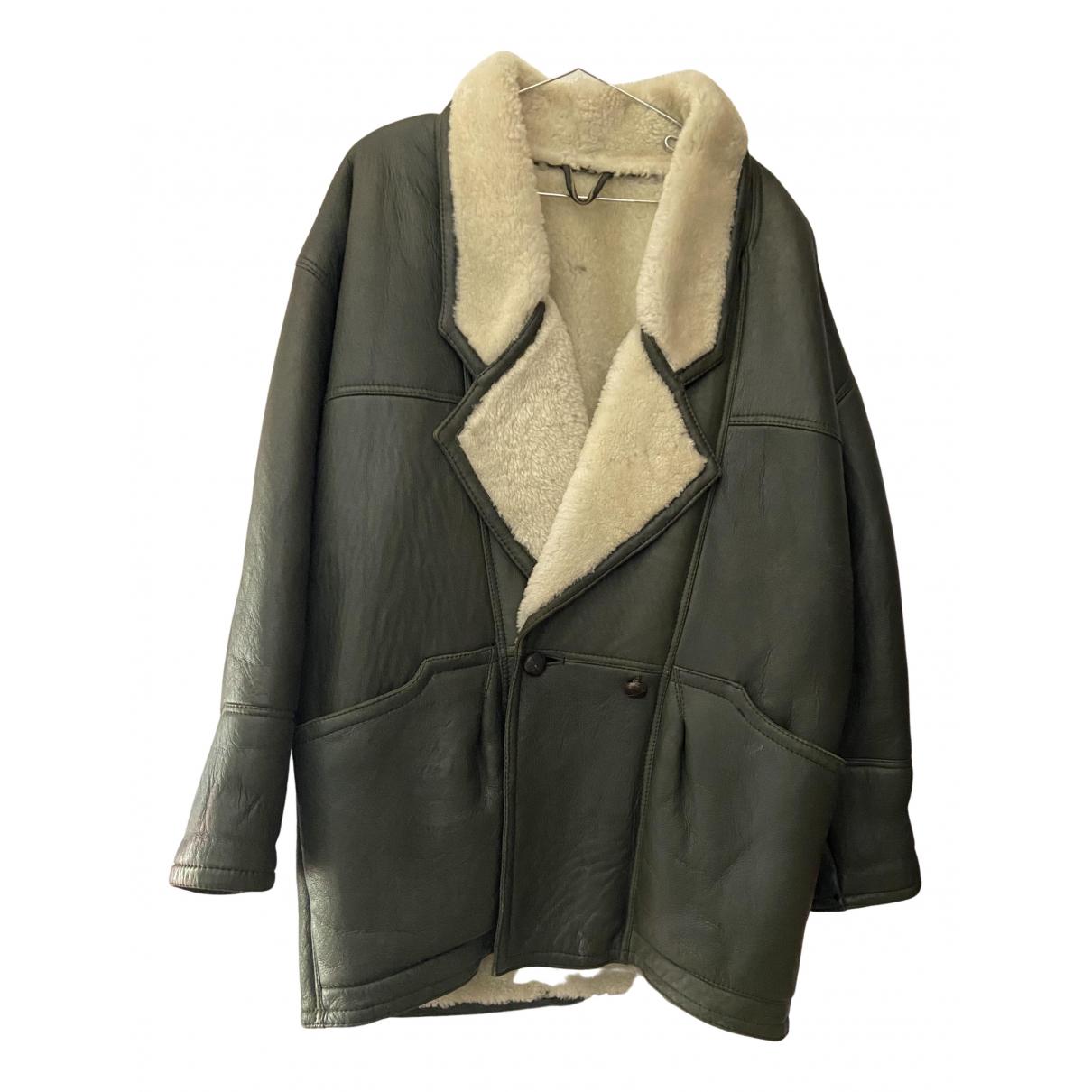 Shearling - Manteau   pour homme en cuir - vert