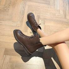 Zip Side Lace-up Ankle Boots